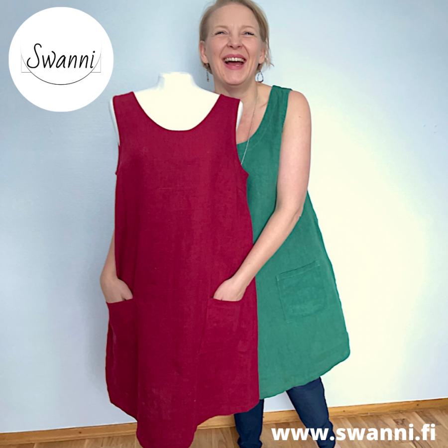 www.swanni.fi_liivimekko_pellavaa_vihreä_punainen_kesä_talvikäyttöön_kässämessut-821f65a8